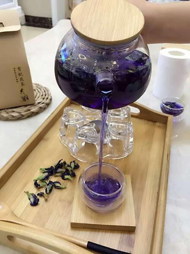 Thé de pois bleu papillon dans théière en verre | oko oko