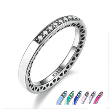 2017 Spring New Europe 100% 925 Sterling Silver Radiant Hearts, 7 Colors Enamel & Clear CZ Finger Ring Women Wedding Jewelry(China)