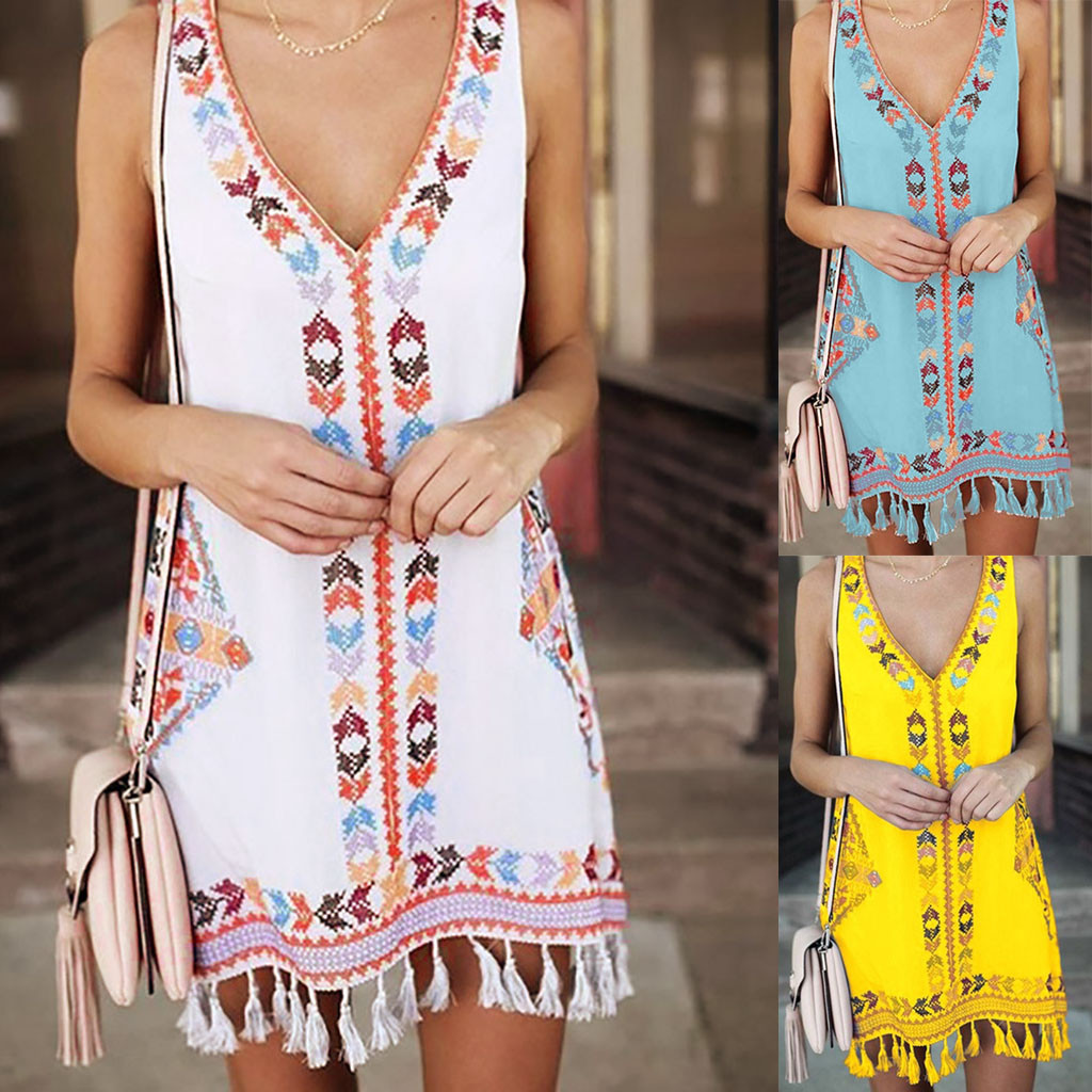 2019 New Fashion Dresses Women Summer Bohemia Tassel Dress Casual Print Sleeveless Beach Mini clothes robe femme