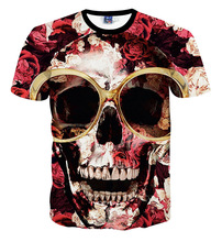 big boys and girls unisex Clothing 3D t-shirt rose Glasses skull printed kids summer fashion t-shirts Children's tee shirt(China)
