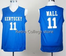 Men Kentucky Wildcats College Jerseys 11 John Wall 23 Anthony Davis 4 Rajon Rondo Jersey Basketball 1 Skal Labissiere Color Blue(China)