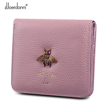 Fashion Lady Zipper Wallet Leather Thin Short Wallets Women Small bee metal Purse Female Mini Retro Purses 2 fold