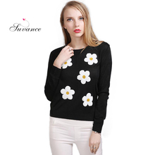 Suvance Embroidered Flowers Long Sleeves Fashion Cute Knitted Thin Spring Women Pullovers Quality Brand Sweaters