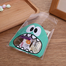 100pcs/lot Small Size Cute Little Monster Candy Cookie Bags Self Adhesive Plastic Biscuit Packaging Gift Bag 7*7cm 10*10cm