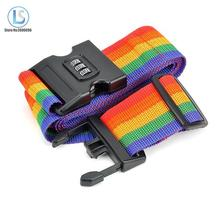 Rainbow Travel Luggage Suitcase Strap 2m baggage Belt Luggage suitcase Secure Lock Safe Belt Strap password lock A208