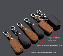 3 Button Folding / Smart car auto key cover leather car-covers case holder ring keychain chain For Ford Kuga Focus New Focus
