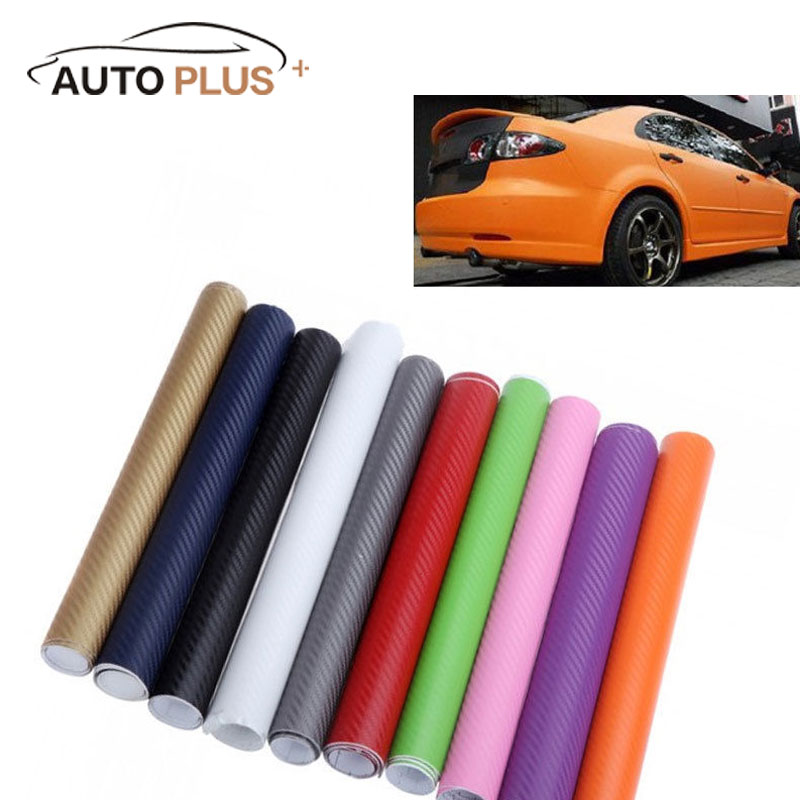 Universal 127*30CM 3D Carbon Fiber Film Vinyl Sticker Car Body/Interior Decoration Grey Red Black Gold White 10 Colors Optional(China)