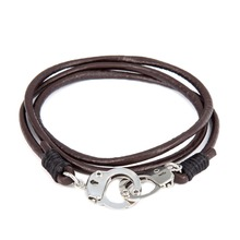 Buy 1 get 1 Bracelets Men Handcuffs Bangles Wristband Jewelry Brown Leather Handmade Bracelet Friendship Gifts Wholesale
