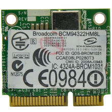 Broadcom BCM94322HM8L BCM4322 802.11a/b/g/n 300Mbps PCI Express Wireless Mini PCI-E Half WiFi Adapter for Dell/ASUS/ACER