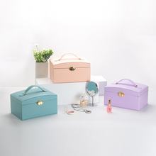 Point Set Jewelry Box organizer box with mirror Jewelry organizer Large leather multi-storey jewelry storage container
