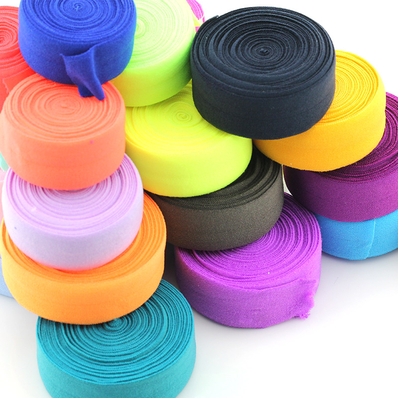 1 10 Yards Soft Foldover Elastic Binding Webbing Tape Shiny FOE Elastic Headband Baby Hairbow Craft Sewing 25mm Black