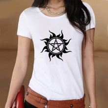 Supernatural Logo Summer White Slim Style Graphic Print T shirt Women Tshirt Swag Clothes Tee Top Gift Printed UK Music