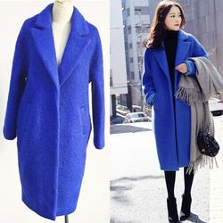 2016 New Spring Winter Cocoon Shaped Women Wool Coat Solid Oversize Outerwear Medium Long Overcoat Blue
