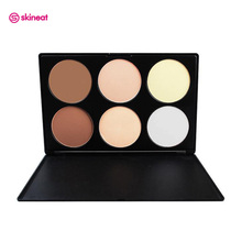 Skineat 6 Colors Mineral Pressed Powder Facial Base Foundation Cosmetics Fix Bronzer Shading Contour Makeup Multi-function Plate(China)