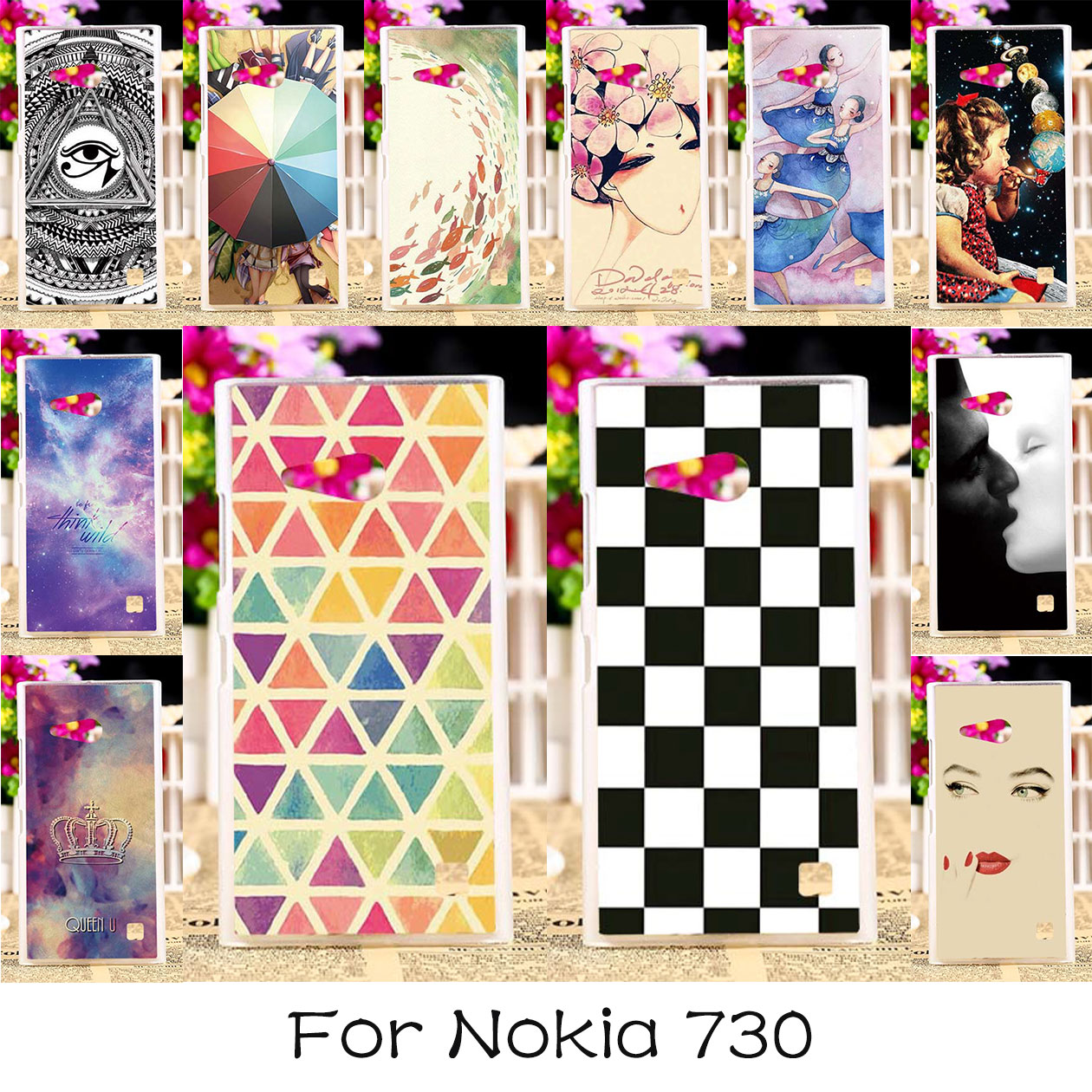 AKABEILA Soft TPU Painted Phone Cases Cover For Nokia Lumia 730 N730 735 4.7 inch Case Back Covers Phone Housings Hood(China)