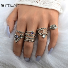 New Wedding 10pcs / Set Bohemian Hollow Pattern Water Droplet Crown Vintage Crystal Beidou Seven Star Fatima Hand Ring For Women(China)