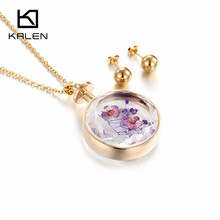 Kalen Gold Color Chinese Style Glass Plant Flower Perfume Bottle Pendant Necklace & Earrings Set Alloy Women Cheap Jewelry Set