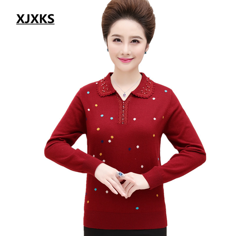 XJXKS Plus Size Turn-down Collar Sweater Women Pullover Colorful Dot Beading Casual High Quality Soft Women Sweaters
