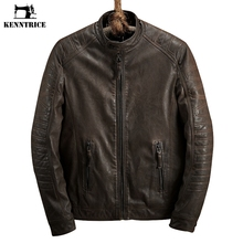Kenntrice Winter Slim Coat Motorcycle Leather Jacket Warm Men Brand Pilot Leather Jacket Pelt Faux Sheepskin Bomber Jackets(China)