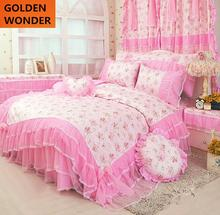 Princess bedding set lace bedding skirt 100% cotton four piece set rustic Korea style for girls queen full pink yellow bed set(China)