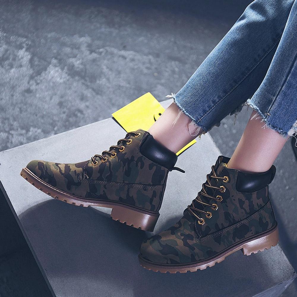 Szyadeou Women Ladies Round Toe Lace-up Faux Boots Ankle Casual Martin Shoes botas mujer invierno kozaki damskie schoenen 30 31