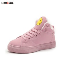 LIANGHSA Thickened plus cotton smile college wind black shoes lace car socks warm wear-resistant snow boots embroidered cowboy