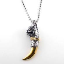 Men' Jewelry Antique Silver Tribal Stark Wolf Fang Tooth Pendant Necklace Vintage Wolf Tooth Dragon Titanium Pendant Necklace