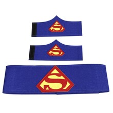 Superheld cape polsband pols riem 1set=2 band+1 superheld cosplay armbanden armbanden superman batman riem(China)