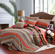 New pattern Bedding article 1* bedspread 2 *pillowcases simple Countryside Quilt Set Queen Quilted Bedspreads(China)