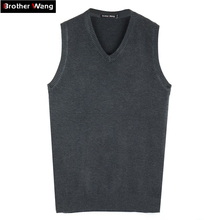 Brother Wang Brand Autumn Winter Men's Knitted Vest Sweater Business Casual Classic 100%cotton V-neck Solid Color pullover men(China)