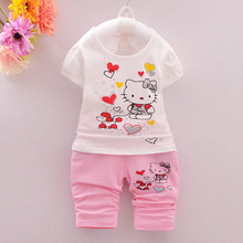 Hello Kitty Girls Clothing Set 3M-4T Girls Clothes Set Children Clothing Toddler Girl tops Pants Girls Suit 2pcs Kids Clothes(China)