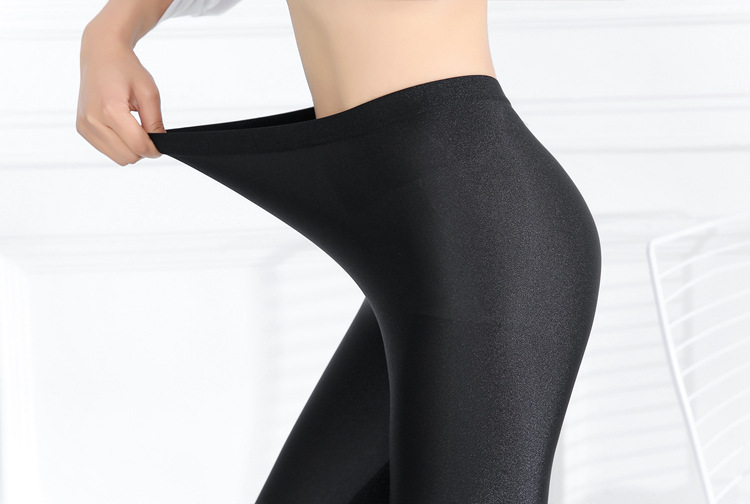 big size full length solid black pant summer shine poplin thin leggings elastic