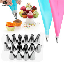18 PCS/Set Silicone Pastry Bag Nozzles DIY Icing Piping Cream Reusable Pastry Bags +16 Nozzle Set Cake Decorating Tools(China)