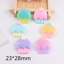 10pcs/lot kawaii resin cabochons flat back resin cake with star mix colors(China)