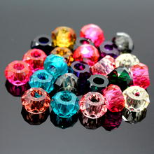 Free shipping 14MM Mixed Colorful Resin Faceted Big Hole Loose Beads 100pcs/lot Fit European Jewelry Bracelet Charms DIY(China)