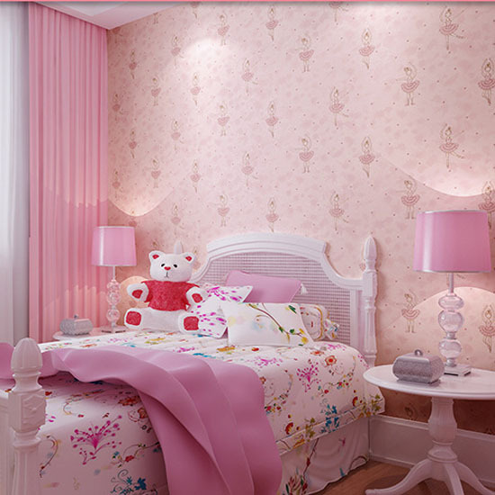 Modern Girls Wallpapers Pink Floral Kids Wallpapers Roll Lovely non-woven Wall Paper for Children Wallpaper kids papel de parede<br>