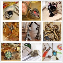 19 Style Wholesale New Vintage Long Chain Bow Cat Owl Octopus Heart Wing Lucky 8 Pendants Necklace Jewelry For Women Gift