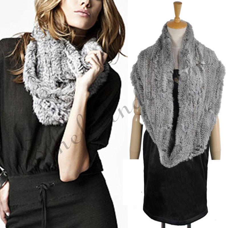 Luxury Womens Ladies Real Farm Rex Rabbit Fur Wrap Muffler Scarf Shawl Best Gift