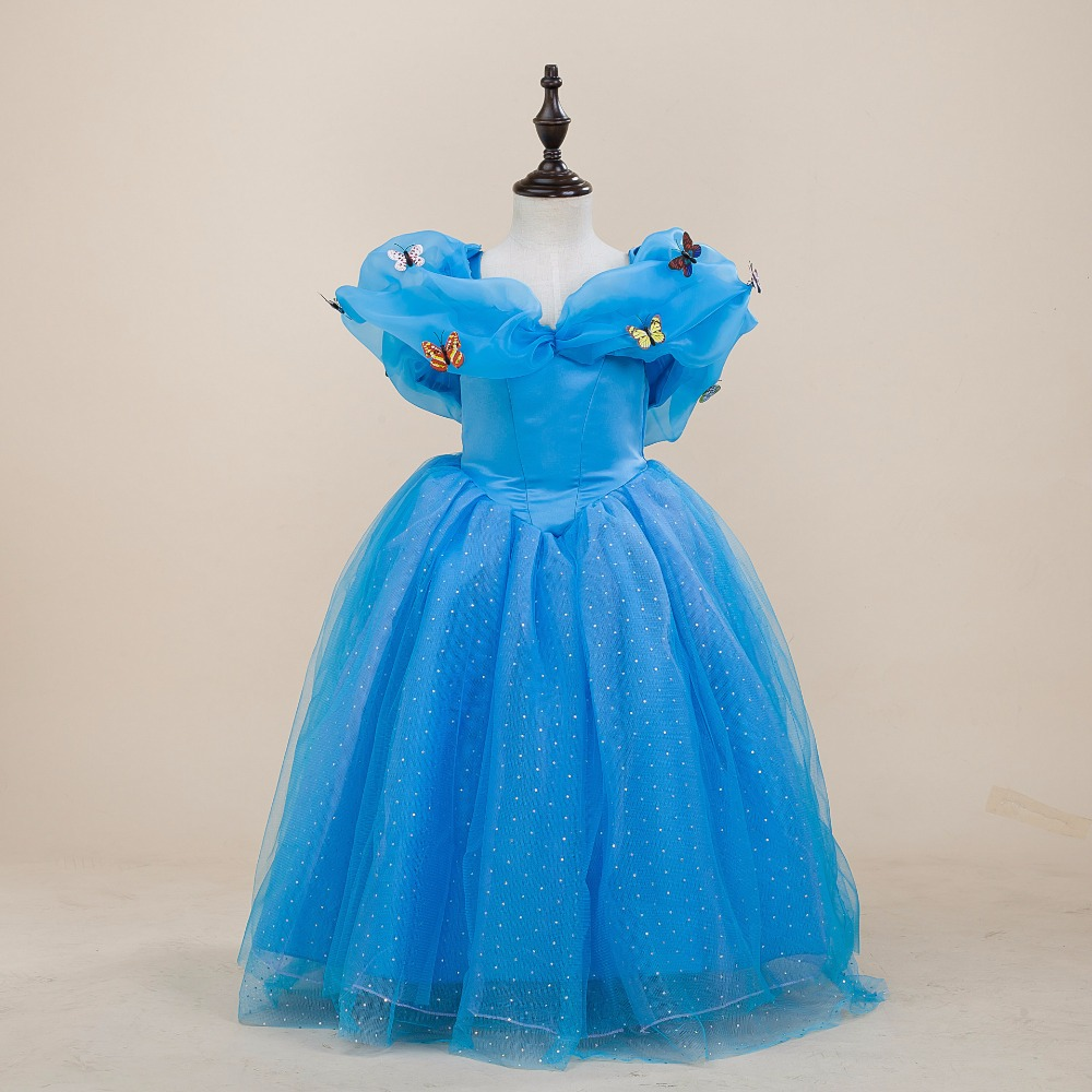 Fashion wedding party princess cinderella kids girls costume birthday dress with butterflies<br><br>Aliexpress