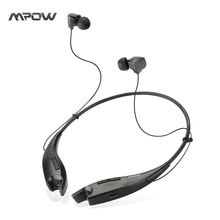 MBH25 Mpow Jaws Wireless Bluetooth 4.1 Stereo Headset Crystal Sound Light Necklace Neckband Handsfree Universal Black Headphones
