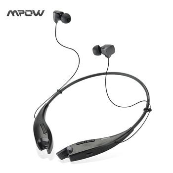 MBH25 Mpow Mâchoires Sans Fil Bluetooth 4.1 Stéréo Casque Cristal Sound Light Collier tour de Cou Mains Libres Universel Noir Casque