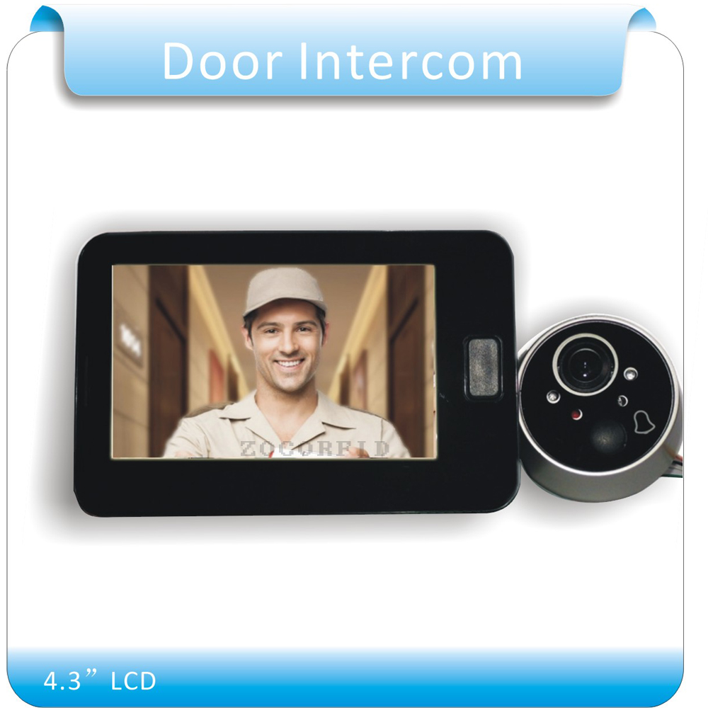 Free shipping 4.3 Door Intercom Digital LCD Door Viewer 2.0 Megapixel Camera Video Intercom Monitor for Home F4344A<br>