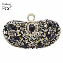 Women Fashion Silver Satin Beaded Evening Clutch Bag Hardcase Wedding Bridal Metal Clutches Shoulder Handbags Mini Dinner Purse