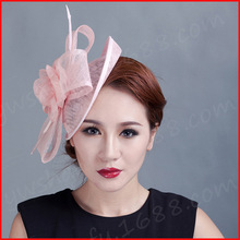 women flowers Fascinator feather ladies sinamay hat hair wedding party fascinators 2015 New handmade Feather Flower Hair Clip