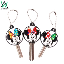 ANRUIW7 New 2017 Silicone Minnie Mouse Key Cover Key Cap Keychain For Women Girl Bag Key Chain Charm Pendant Jewelry Aceessorie(China)