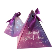 50pcs Purple Triangular Candy Box with Starry Sky Galaxy Wedding Favor Box Gifts Bag for Wedding Party Decorations