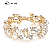 Minmin Synthetic Pearl Crystal Chain Bracelets for Women Gold-color Leaf Design Brides Bangles Wedding Jewelry Accessory SL089