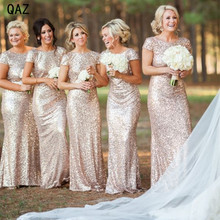 Champagne Gold Long Sequined Short Sleeve Floor Length Dress 2016 Wedding Party Dress W216(China)
