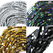 "Wholesale Black/Gold/Silver/Rainbow  98pcs/lot coated natural stone hematite cube square loose spacer beads 16"" per strand 4mm"