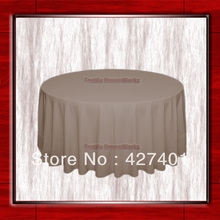 "Hot Sale 132"" R Khaki Round Table Cloth Polyester Plain Table Cover for Wedding Events &Party Decoration(Supplier)(China)"